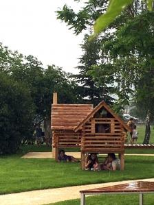Keď na ihrisku Vodný svet na Karpatskej prší, našťastie je kam sa schovať :)