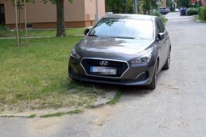 Diskutabilný zavedený systém regulácie parkovania žiaľ neodstránil ani parkovanie na tráve vo vnútroblokoch aj inde; foto: Jozef Sjekel